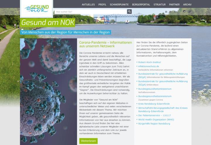 """Neues Internet-Angebot in der Corona-Krise – ein Projekt der Initiative """"Gesund am NOK"""""""